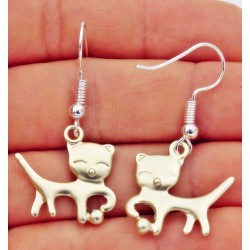 """Boucles d'oreilles """"chat gris"""""""