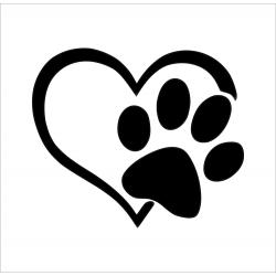 Sticker patte sur le coeur